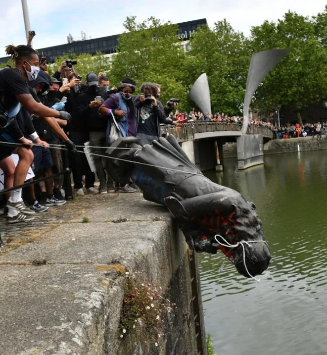 Black Lives Matter Bristol protesters tear down statue of 17th century the slave trader Edward Colston