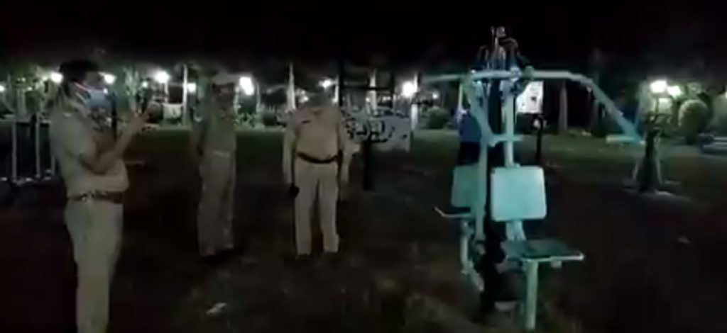 Jhansi Viral video of outdoor gym equipment moving by itself