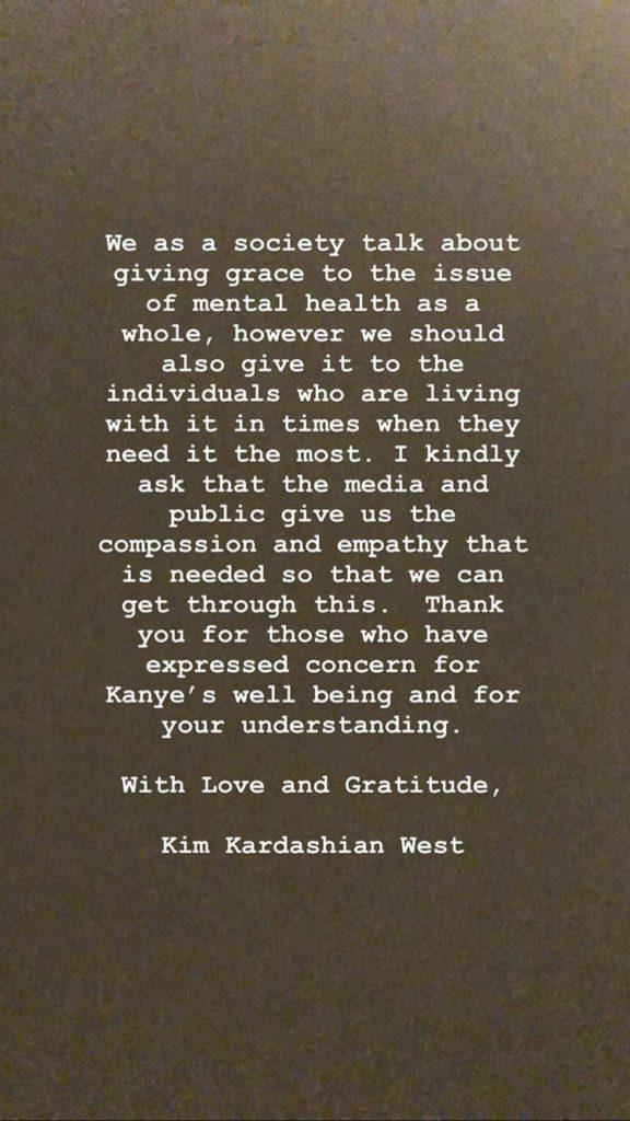 Kim Kardashian West addresses husband Kanye West's mental health