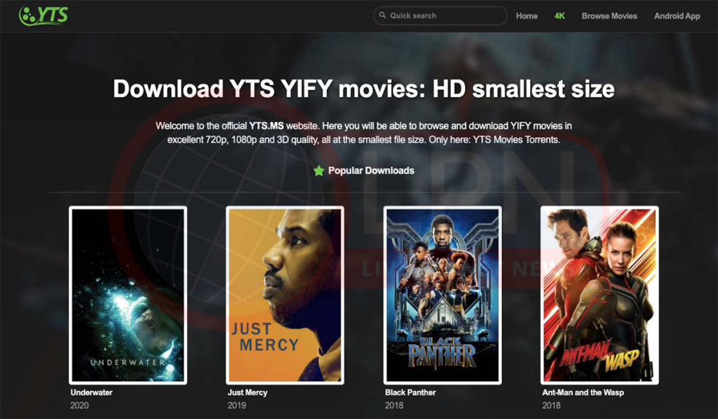 YTS Hollywood & Bollywood HD Movies Download Torrent Website